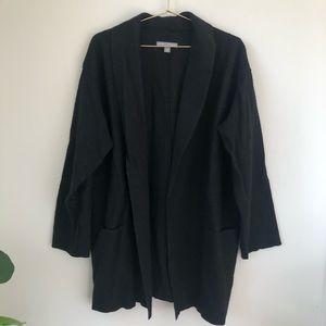 Jessica London plus size black wool wrap cardigan
